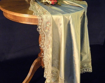 Lace and Silk Tablecloth Turquoise Luxury Silk with French Lace elegant tabletop decoration