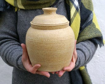 Extra large lidded storage jar - natural brown handmade stoneware kitchen canister