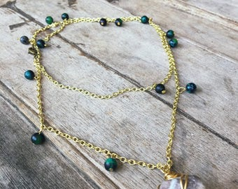 stone chained beaded necklace