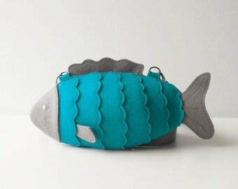 Felt Fish Bag Turquoise Small Felt Purse