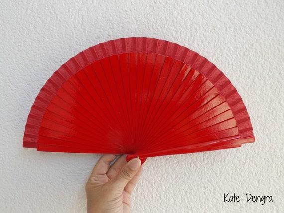 Sml Red Wooden Hand Fan