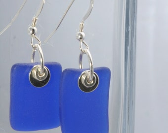 Blue Skyy Vodka Recycled Glass Earrings