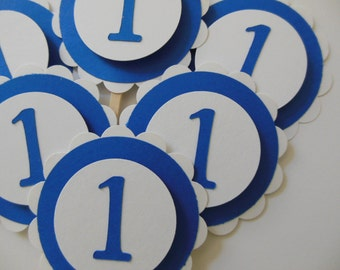 1st Birthday Cupcake Toppers - Royal Blue and White - Boy Birthday Decorations - Girl Birthday Decorations - Set of 6