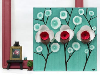 Teal Wall Art Painting of Red Orchids, Acrylic Painting on Small Canvas - 10X10