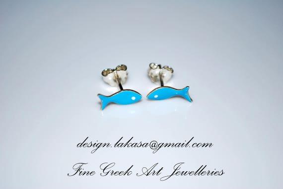 Enamel Fish Stud Earrings Sterling Silver Handmade Jewelry cute girl Kids Collection Baby Moda Woman Girlfriend Summer Greek Baptism Gifts