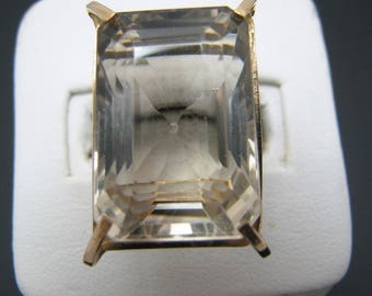c041 Beautiful Emerald Cut Light Smokey Quartz in a 14k Yellow Gold Ring