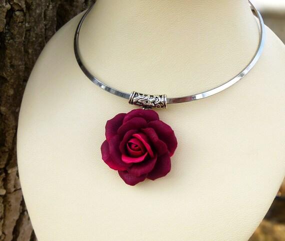 Burgundy Necklace Rose Necklace Gift For Women Boho Necklace