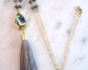 Gray Tassel Necklace | Rosary Necklace | Abalone Necklace | Labradorite Necklace | Tassel Necklace | Gold Necklace