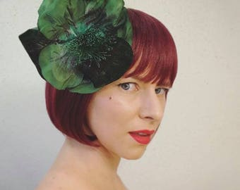 """Forest Green Fascinator, Large Hair Flower, Vintage Hair Clip for Women, 1950s Floral Headpiece - """"Feral Forest"""""""