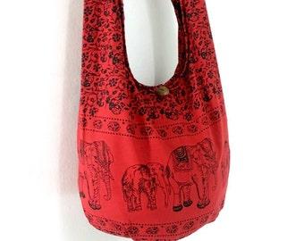 Women bag Handbags Cotton bag Elephant bag Hippie Hobo bag Boho bag Shoulder bag Sling bag Messenger bag Tote bag Crossbody bag Purse  Red