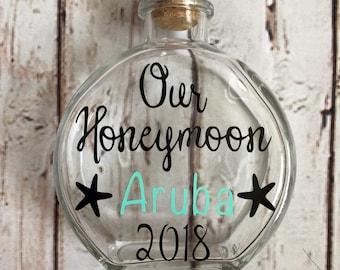 Honeymoon Sand Bottle, Personalized Destination Honeymoon Sand Holder