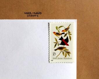 Audubon  - Scarlet & Louisiana Tanagers || Set of 10 unused vintage postage stamps