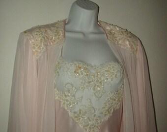 Beautiful Vintage Jonquil Beaded Lace Peignoir Set by Diane Samandi