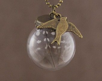 """Glass Globe Necklace """"Avila"""" with Real Feather"""