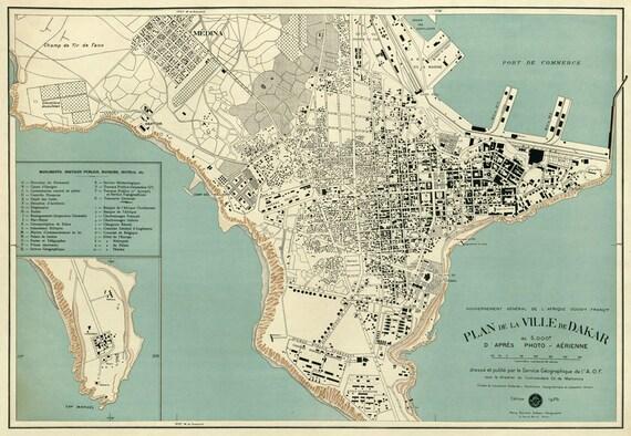 Dakar map Old map of Dakar reproduction Archival print