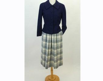 Vintage Pendleton wool skirt, plaid skirt, blue white, Size 10 preppy 1970s skirt