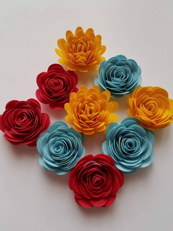 Set of 10 small paper flower tiny paper flower shadowbox like this item mightylinksfo Choice Image
