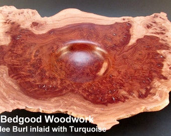 Bowl turned wood, Red Mallee Burl inlaid with Turquoise Eucalyptus