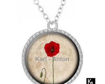 Silver round pendant + chain pattern necklace pretty poppy (1581) - flower, floral, fields, nature.