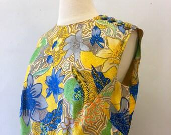 Botanical shift dress * Vintage 1960s sleeveless dress * 60s colorful silk blend shift