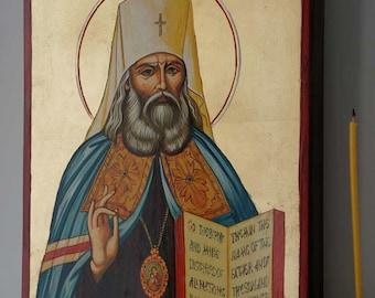 Saint St Innocent of Alaska Moscow Hand-Painted Byzantine Orthodox Icon on Wood 35 x 24cm