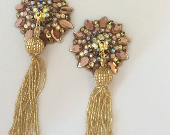 Smoked topaz pasties, nude base with removable gold beaded tassel