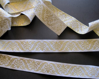 Jacquard Embroidered Royal Ribbon, White / Gold , 1 3/16 inch wide, 1 yard, For Home Decor, Accessories, Apparel