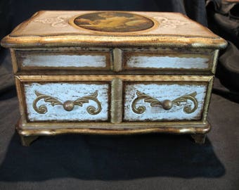 Vintage Wooden Florentine Jewelry / Music Box