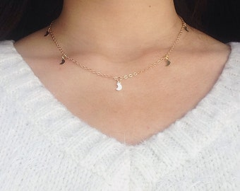 GOLD MOON NECKLACE moon jewelry moon choker gold layering necklace gold choker celestial necklace dainty gold necklace choker necklace