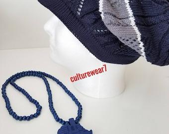 Rasta Hat & Bead Necklace Set