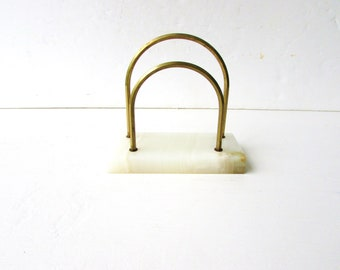 Vintage Onyx Letter Holder and Paperweight -  Onyx - Desk Accessory - Mid Century Office Desk - Brass and Onyx -