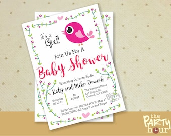 Printable Baby Shower Invitation girl - It's a Girl Baby Shower Invitation - Personalized Baby Shower Invitation Girl - Bird Baby Shower