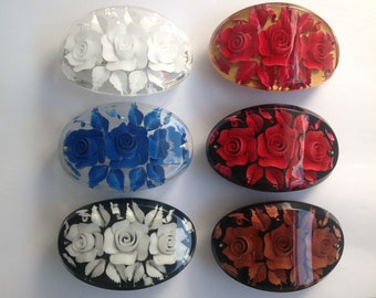 Hand made resin flower engraved hair clip barrette - more colours available