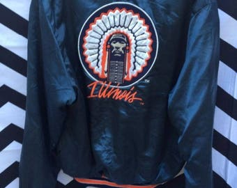 Sports Jacket, Satin, Button-up, Illinois W/indian Chief Embroidered Front Chest And Full Back