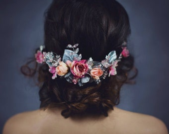 Half Wreath ,flower head wreath,floral head wreath,headband, fairy wreath,flower wreath,flower hair crown,wedding wreath pink silver