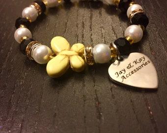 Pretty as a Butterfly Handmade Eco-friendly Beaded Bracelet/ Women or Teen Girls/ Gift for her