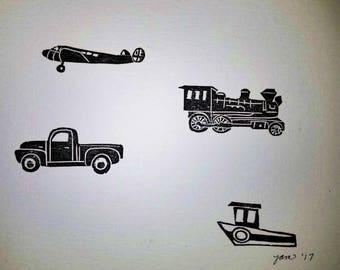 Transportation hand printed linocut