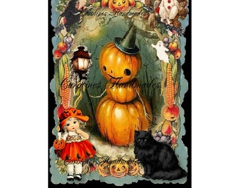 "Vintage Halloween Designer Art Collage Cotton Fabric Quilt Block (1) @ 5X7"" on 8.5X11"" Sheet"