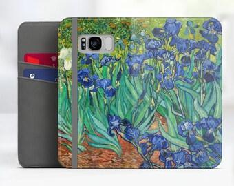 "Van Gogh ""Irises"" Samsung Galaxy S8 folio case iPhone 7 folio case Galaxy S9 folio Phone case for iPhone, Samsung. WC-VVG-06"