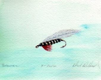 Fishing Art - Original Art - Watercolor - Beaman Minnow - Streamer - Made in Michigan - Michigan Artist - Fly Fishing - Black Frame