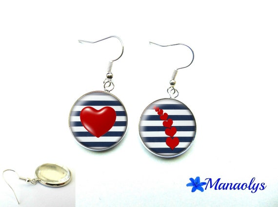 Earrings style Navy, red hearts, 1188 glass cabochons