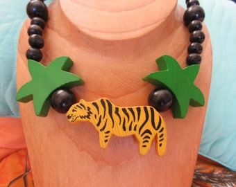 Whimsical Wooden Jungle Tiger Necklace