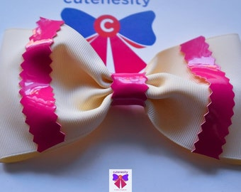 Ivory and Pink Layered Bow- Baby / Toddler / Girls / Kids Headband / Hairband / Hair bow / Barette / Hairclip
