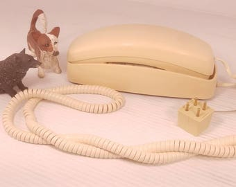 Vintage Push Button Wall Or Desk Telephone by AT&T, Flesh Tone Tan with Long Headset Cord and Four Prong Plug, Untested