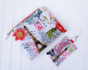 Quilted Pouch / Quilted Cosmetic Bag / Quilted Zippered Pouch - Springtime In Paris