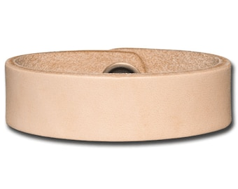 Plain Thick Leather Bracelet Wristband Cuff 20mm Natural with Snap Fastener (Nickel Free)