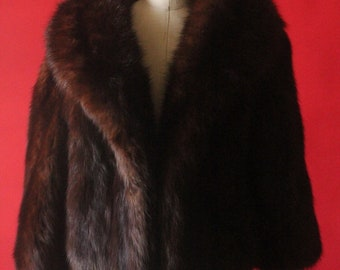 Vintage 50's Brown Fox Fur Bolero Shrug Jacket by Bullocks Wilshire