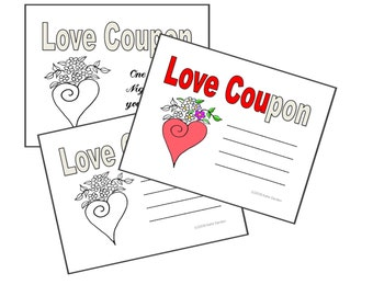 LOVE Coupons - Print & Color Your Own Valentine or Anniversary Coupon Cards - 12 Designs with 12 blanks -Original Artwork-Adult Coloring PDF