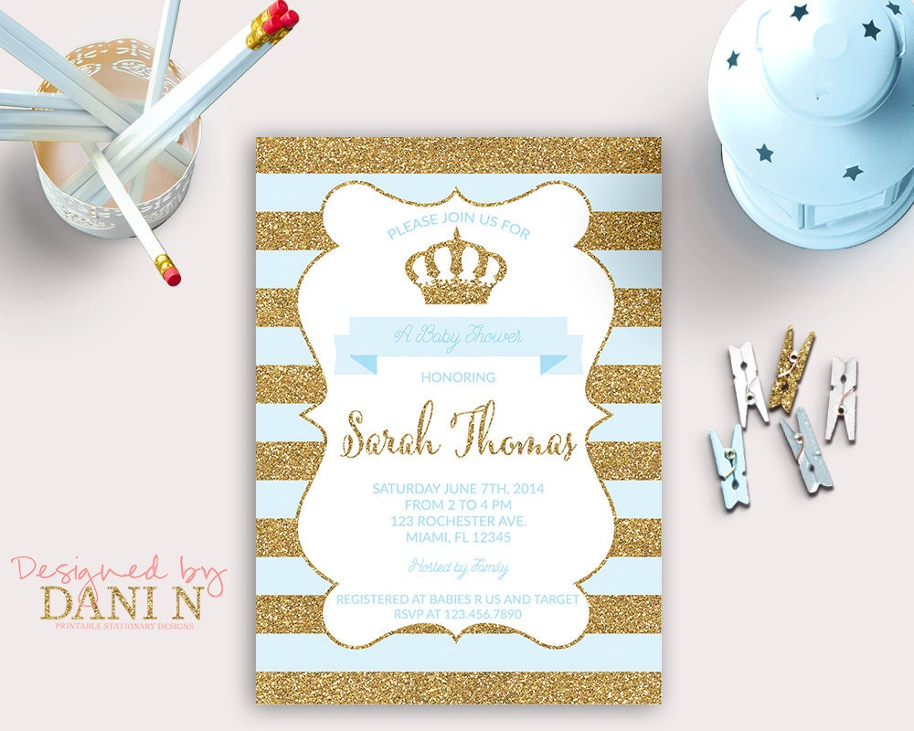 baby shower Invitation prince baby shower blue and gold