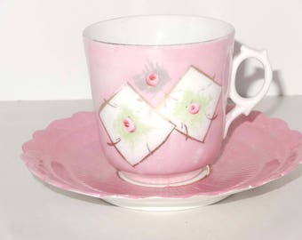 Pink with Gold Leaf Tea Cup with Saucer Floral Motif Home and Garden Kitchen and Dining Tableware Drinkware Coffee and Tea Cups